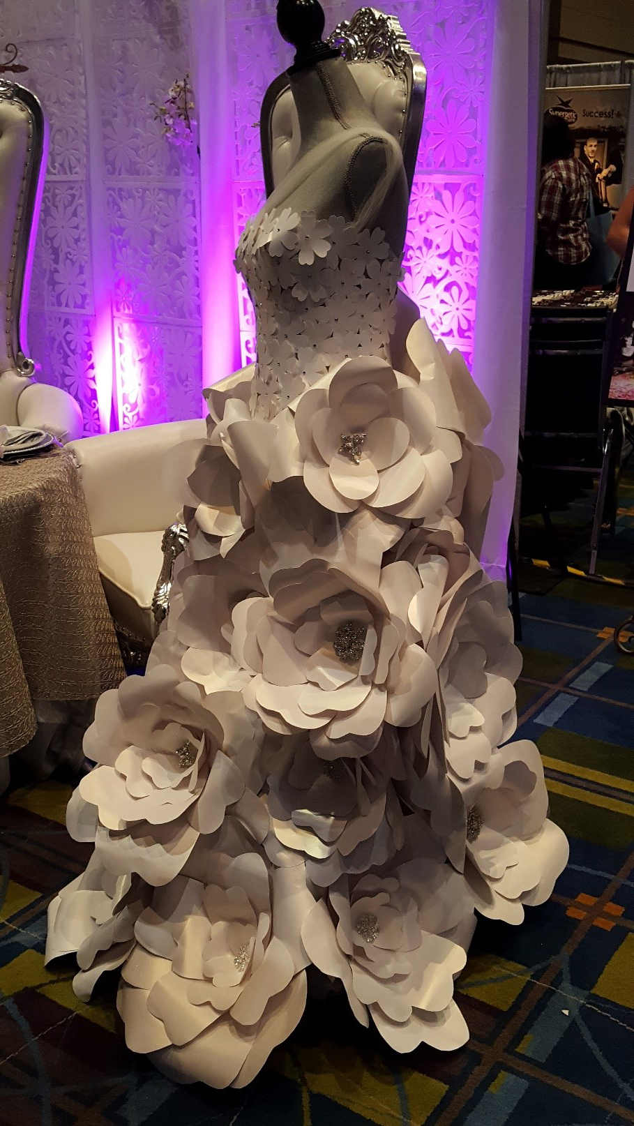 A dress made of paper from the Your Wedding Experience by David Tutera Bridal Show